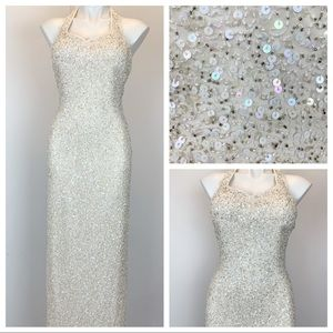 Scala beaded sequined evening gown ling dress